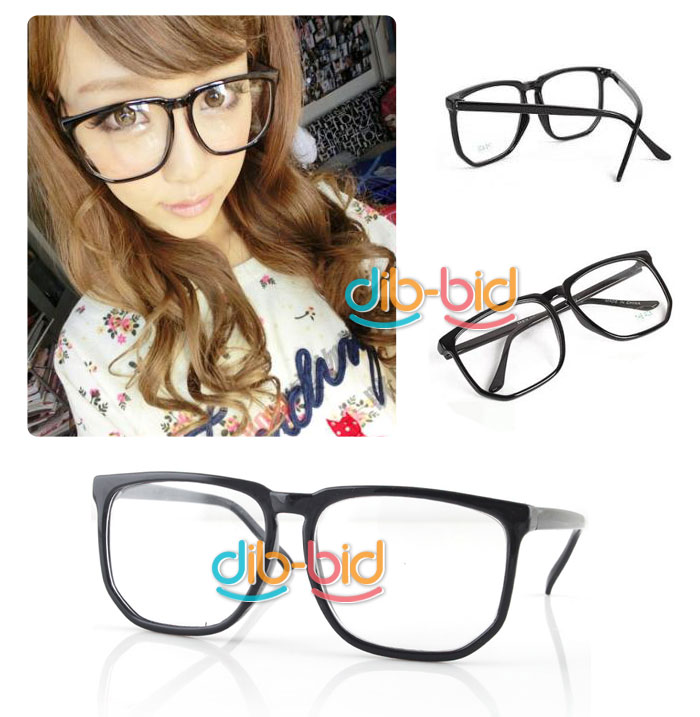 Big Black Frame Nerd Glasses : Large Square Clear Lens Black Frame Wayfarer Nerd Glasses 03